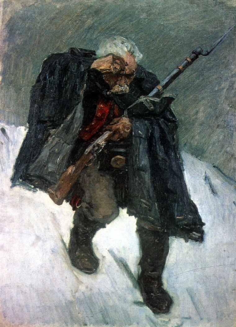 Old Soldier Descending from the Snowy Mountain