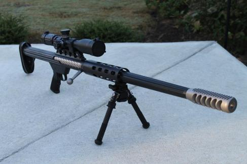 A single shot bolt-action rifle in .50 BMG.